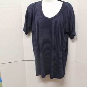 womens nsf top v neck short sleeve, blue size m